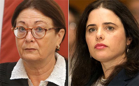 מימין שרת המשפטים איילת שקד ו ה שופטת אסתר חיות, צילומים: אוראל כהן, אלכס קולומויסקי