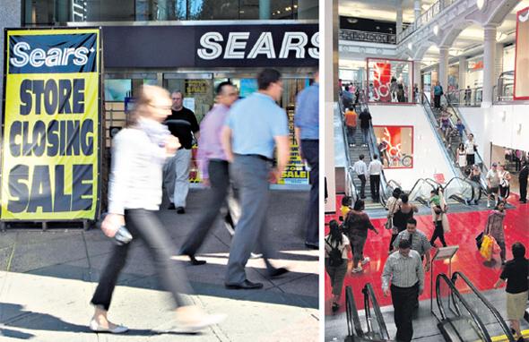 קניון בניו יורק ב־2009, בימים הומים יותר (מימין); וחנות של סירס  שנסגרה. בארצות הברית לבדה סוגרת כעת רשת בתי הכלבו הנודעת לא פחות מ־42 חנויות ענק
