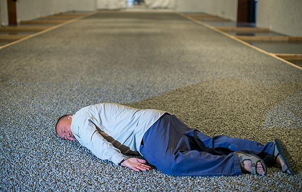 איי ווייוויי השבוע במוזיאון ישראל, משחזר את תמונת גופת הילד הכורדי המפורסמת, על גבי מיצב מ־23 טון זרעי חמניות מפוסלים