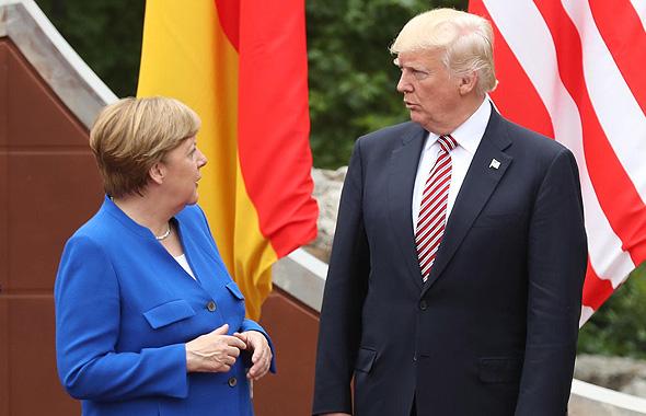 דונלד טראמפ ו קנצלרית גרמניה אנגלה מרקל, צילום: גטי אימג'ס