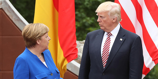 דונלד טראמפ וקנצלרית גרמניה אנגלה מרקל, צילום: גטי אימג