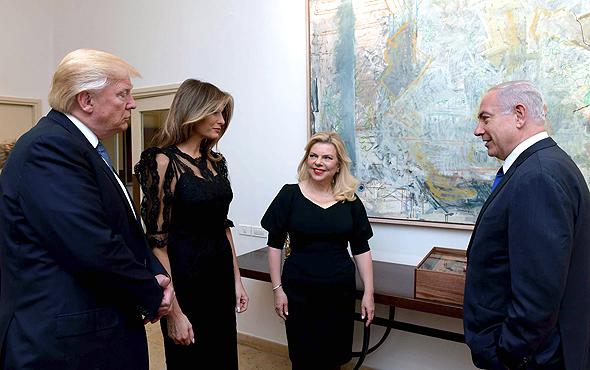 """בנימין ו שרה נתניהו דונלד טראמפ מעון ראש הממשלה , צילום: אבי אוחיון לע""""מ"""