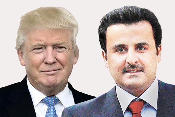 """מימין השיח' הקטארי תמים בן חמד ו נשיא ארה""""ב דונלד טראמפ , צילומים: אי פי איי , טי אן סי"""