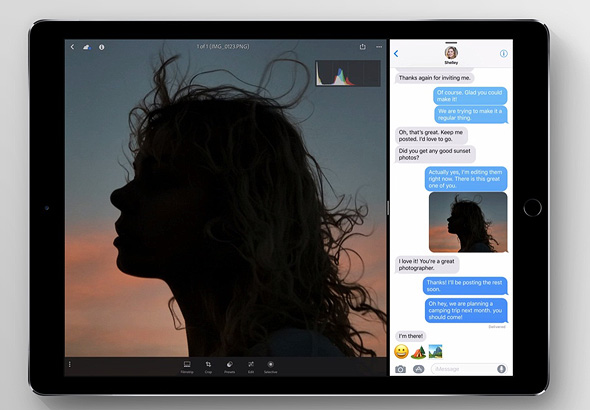 ריבוי משימות מודגם באייפד החדש, צילום: Apple