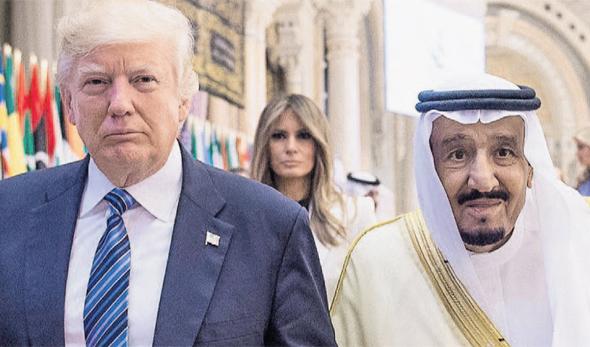 סלמן מלך סעודיה ו דונלד טראמפ, צילום: איי אף פי