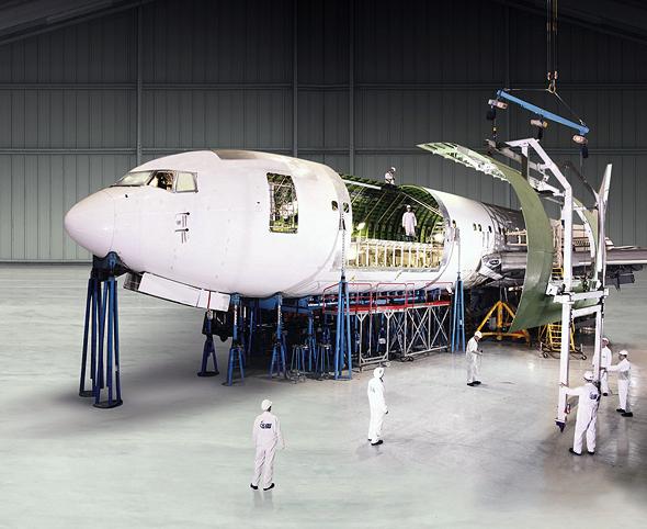 A passenger jet being converted at an IAI facility. Photo: IAI