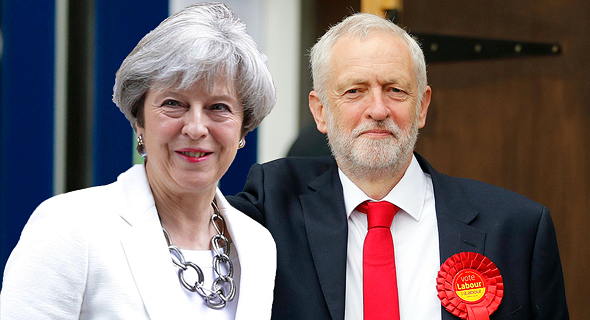 """מנהיג הלייבור ג'רמי קורבין וראשת ממשלת בריטניה תרזה מיי. """"שיחות קונסטרוקטיביות""""? לא בדיוק"""