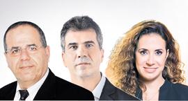 """מנכ""""לית HOT טל גרנות גולדשטיין שר הכלכלה אלי כהן ו שר התקשורת הנכנס איוב קרא, צילום: אוראל כהן"""