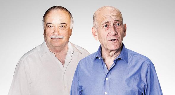 מימין ראש הממשלה לשעבר אהוד אולמרט ואיש העסקים אליעזר פישמן, צילום: טל שחר, אוראל כהן
