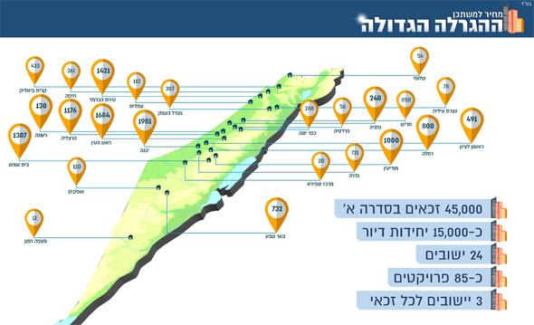 מפת המכרזים ל-15 אלף יחידות הדיור שישתתפו בהגרלה