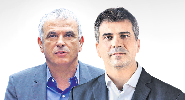מימין שר הכלכלה אלי כהן ו שר האוצר משה כחלון, צילום: עמית שעל