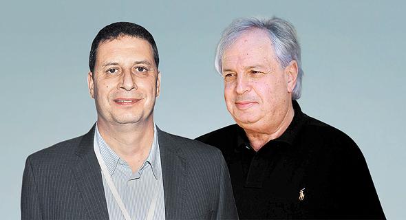 """מימין שאול אלוביץ' בעל השליטה ב בזק ומנכ""""ל יס רון אילון, צילום: אלי דסה, יח""""צ"""