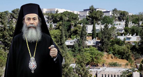 הפטריארך היווני תיאופילוס על רקע שכונת ניות בירושלים