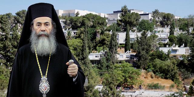 הפטריארך תיאופולוס על רקע שכונת ניות בירושלים, צילום: עמית שאבי, אלכס קולומויסקי