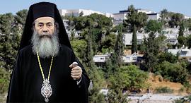 הפטריארך היווני תיאופילוס על רקע שכונת ניות בירושלים, צילום: עמית שאבי, אלכס קולומויסקי