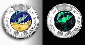 מטבע 2 דולר קנדה זוהר בחושך, צילום: Royal Canadian Mint