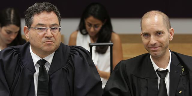 """מימין: עו""""ד אפי שאשא ועו""""ד רונן עדיני. מייצגים את התובע, צילום: אוראל כהן"""