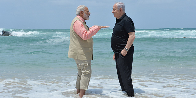India's PM Modi meeting with Israeli PM Netanyahu in Israel. Photo: Kobi Gideon (GPO)