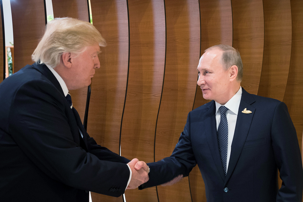 פוטין נפגש עם טראמפ פסגת G20 בהמבורג, צילום: רויטרס