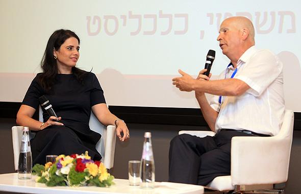 מימין: משה גורלי ושרת המשפטים איילת שקד בכנס , צילום: אוראל כהן