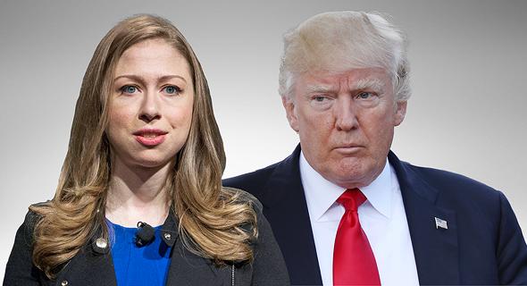 """משמאל צ'לסי קלינטון ונשיא ארה""""ב דונלד טראמפ, צילום: רויטרס, גטי אימג'ס"""