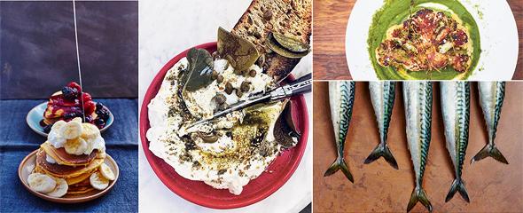 צילומי אוכל של לופטוס. הצילום האמצעי (לבנה) והימני העליון (כרובית בתנור פחמים) צולמו בחודש שעבר במסעדת נורמן בתל אביב