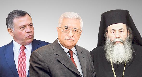 """מימין: הפטריארך תיאופילוס השלישי, מלך ירדן עבדאללה ויו""""ר הרשות הפלסטינית אבו מאזן. טרם הביעו עמדתם בפומבי"""