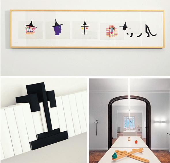 """מתוך התערוכה של דאנזה: למעלה הדפס של מימו פלאדינו; למטה מימין מחזיק קלסרים ותיקיות; משמאל קערת פירות בעיצוב גלעד. """"אני לא נוסטלגי"""""""