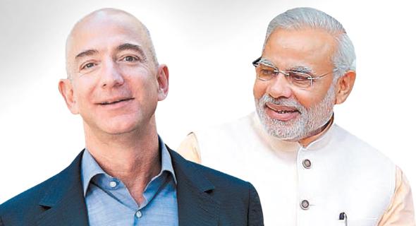 ראש ממשלת הודו נרנדרה מודי ומייסד אמזון ג'ף בזוס, צילומים: איי.אף.פי, בלומברג