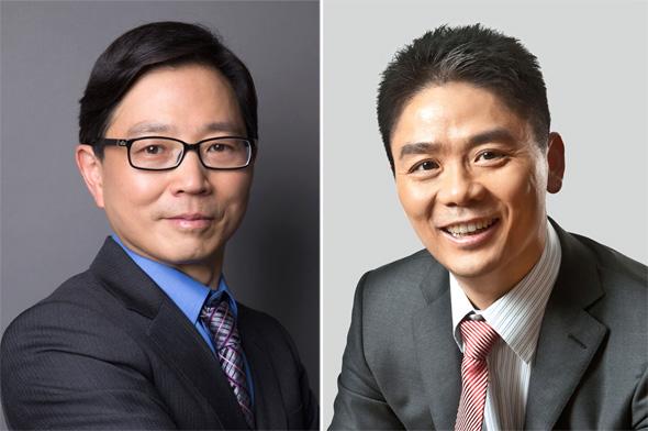 """מימין ריצ'רד ליו מנכ""""ל JD.com וצ'ן ג'אנג סמנכ""""ל הטכנולוגיות"""