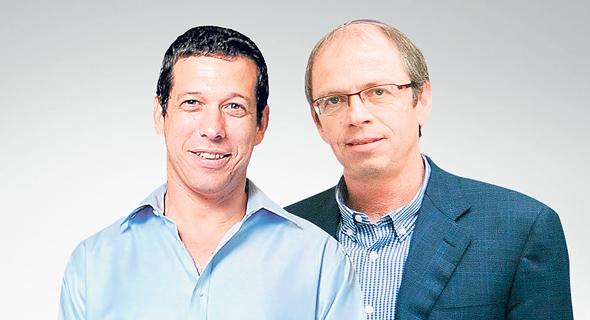 מימין: צביקה יוכמן מקרן סקיי וגלעד שביט מקרן קדמה