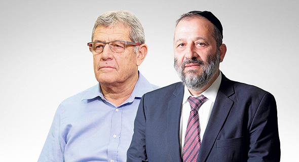 מימין שר הכלכלה לשעבר אריה דרעי ונציג טיסנקרופ מיקי גנור, צילום: עמית שעל, דוברות המפלגה כולנו