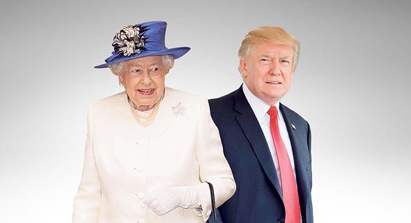 """נשיא ארה""""ב דונלד טראמפ ו מלכת אנגליה אליזבט, צילום: איי אף פי, רויטרס"""