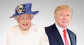 טראמפ והמלכה אליזבת, צילום: איי אף פי, רויטרס