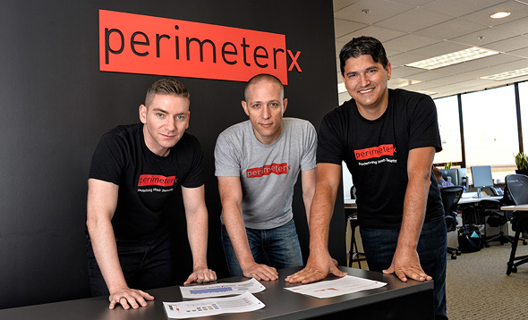 PerimeterX co-founders Ophir Ashkenazi (left), Ido Safruti and Omri Iluz. Photo: PR