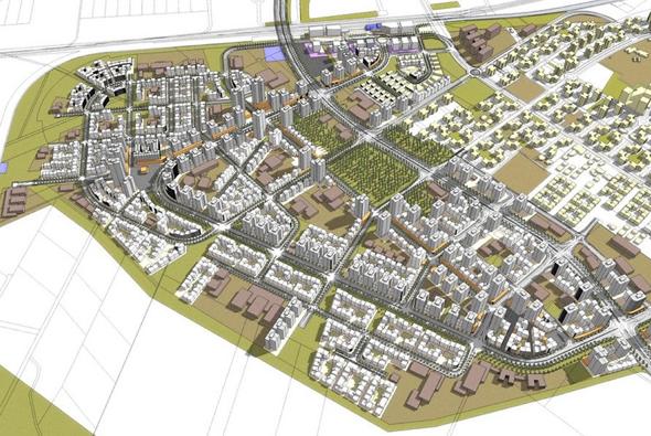 הדמיית הפרויקט החדש במערב לוד. העיר הוותיקה תישאר מוזנחת