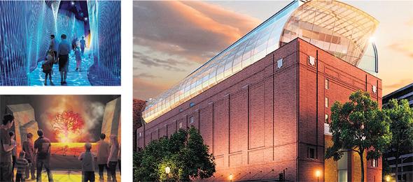 """(מימין): תהליך הבנייה של מוזיאון התנ""""ך בוושינגטון, הדמיה של המוזיאון מבחוץ והדמיות של חציית ים סוף והסנה הבוער. ייפתח בנובמבר בהשקעה של 400 מיליון דולר, שלפי פרסומים הוכפלה ל־800 מיליון"""