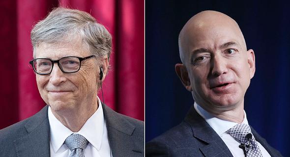 מימין ג'ף בזוס ו ביל גייטס שני האנשים העשירים בעולם