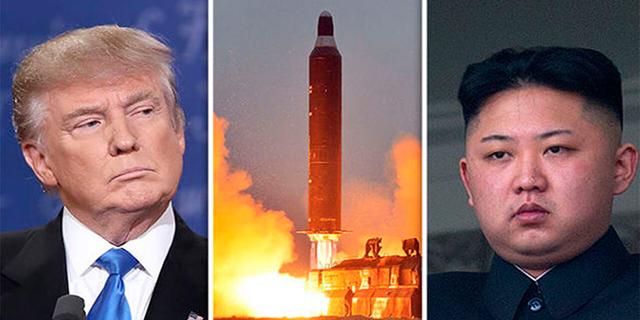 "מימין מנהיג צפון קוריאה קים ג'ונג און ונשיא ארה""ב דונלד טראמפ"