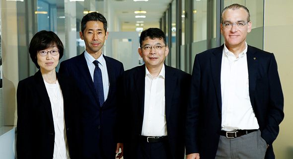 NeuroDerm CEO Oded Lieberman with Mitsubishi Tanabe representatives. Photo: Amit Sha'al
