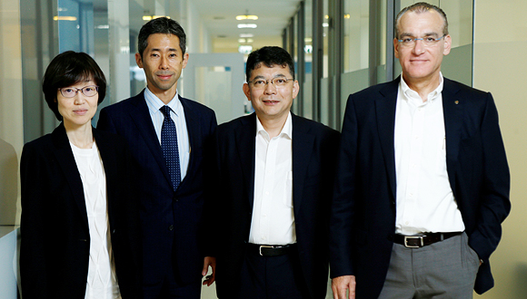 NeuroDerm CEO Oded Lieberman with Mitsubishi Tanabe representatives
