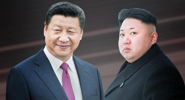 מימין מנהיג צפון קוריאה קים ג'ונג און ו נשיא סין שי ג'ינפינג, צילום: גטי אימג'ס, רויטרס