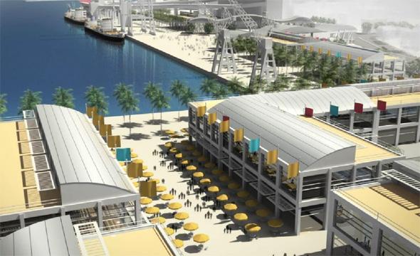 חזית הים העירונית בנמל חיפה, הדמייה: עיריית חיפה