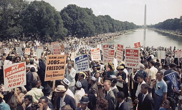 הצעדה לוושינגטון של תנועת זכויות האזרח, 1963. קדם לה עשור של ביסוס התנועה