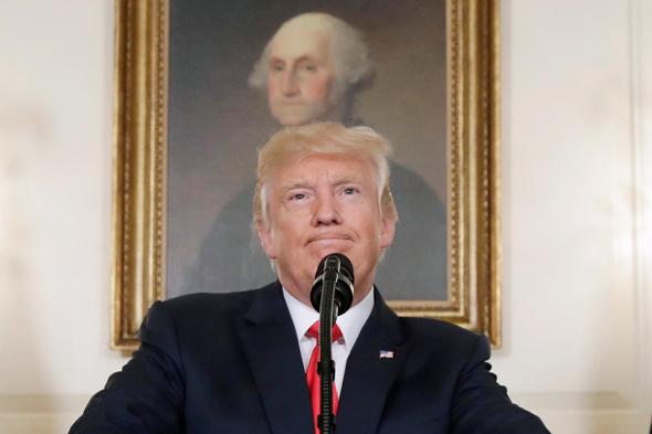 דונלד טראמפ ומאחוריו דיוק של ג'ורג' וושינגטון, צילום: איי פי