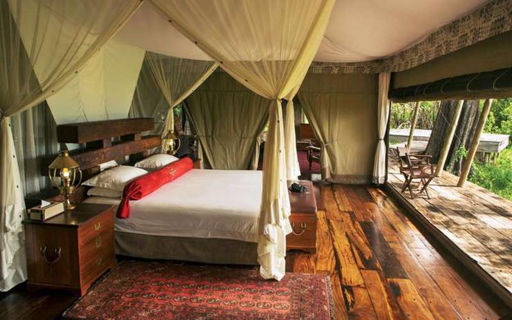 מלון Zarafa Camp, שמורת סלינדה בבוטסואנה , קרדיט: Great Plains Conservation