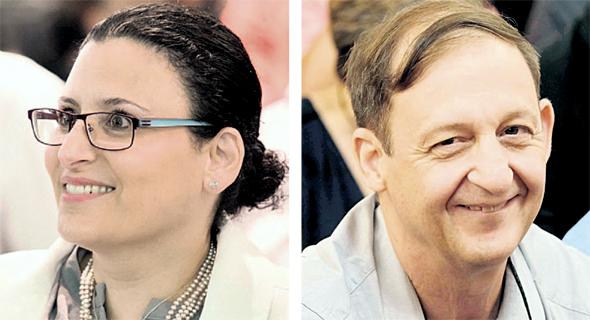 מימין: פרופ' מיקי וינטראוב ומיכל עבאדי־בויאנג'ו