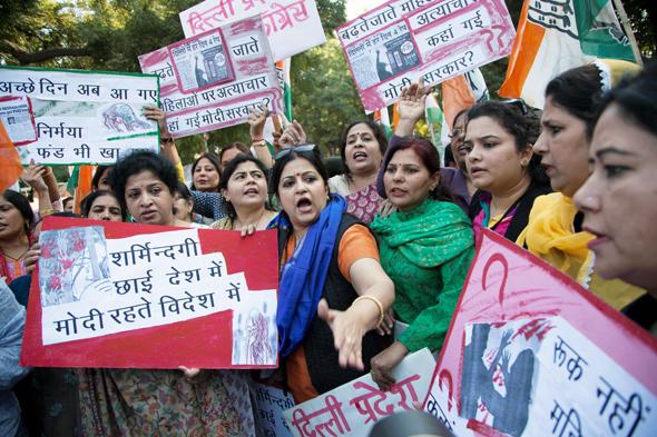 הפגנה בהודו עקב טיוח פרשת האונס באובר, 2014