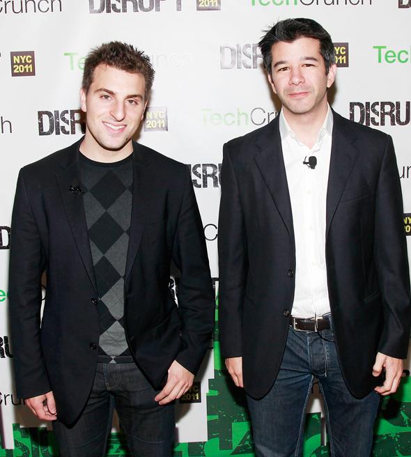 מימין: טראוויס קלניק ובריאן צ'סקי
