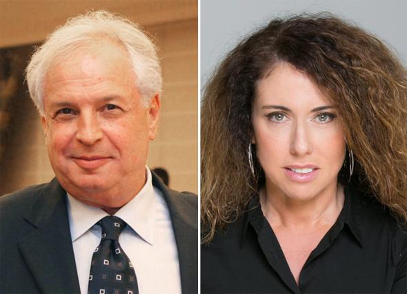 """מימין מנכ""""לית בזק סטלה הנדלר ובעל השליטה בבזק שאול אלוביץ'"""
